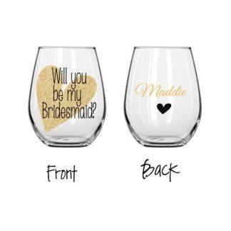stemless bridesmaids wine glass future mrs box